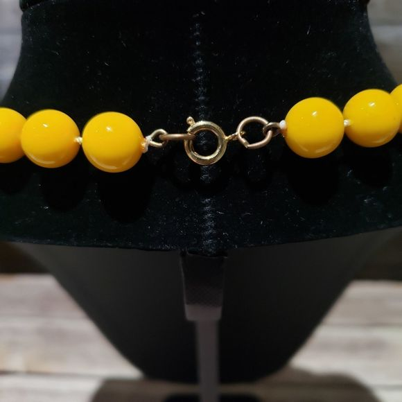BeigeOff-WhitePale Yellow Vintage Plastic Flat Beaded Necklace in Matinee Length 23 Inches Long; Circa 1980/'s